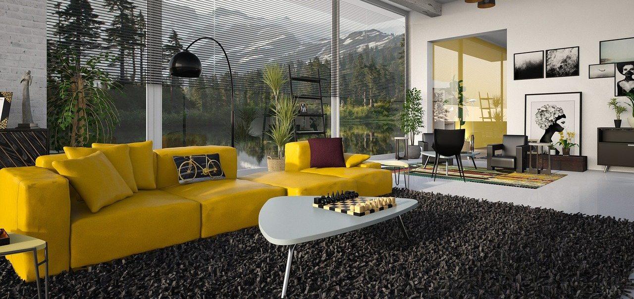 Gelber Wohnlandschaft Bezug in großem Wohnzimmer