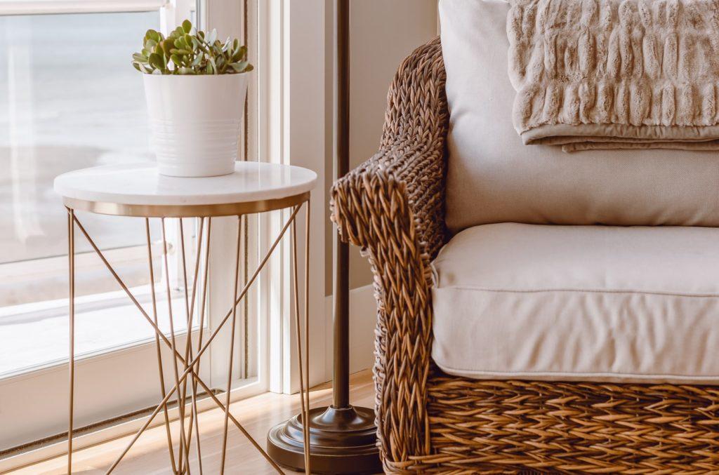 Sitzkissen für Korbsessel in weiß